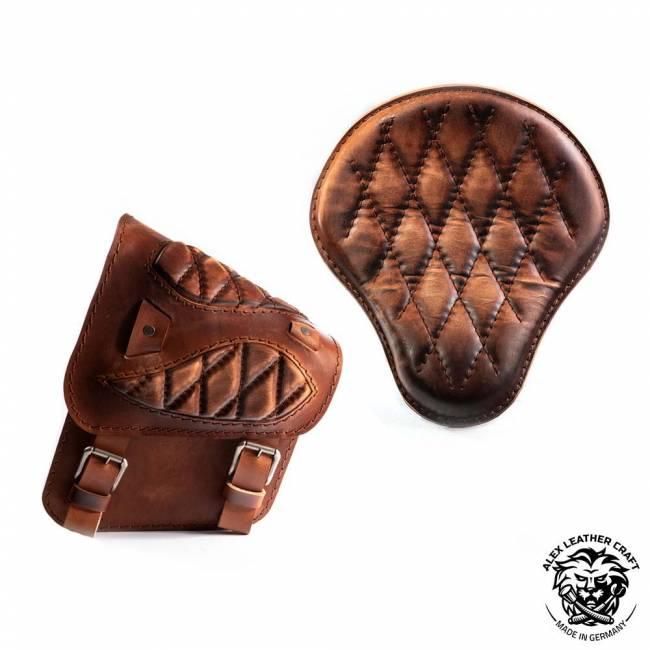 Sitz + Satteltasche für HD Softail Rautenmuster Vintage Braun