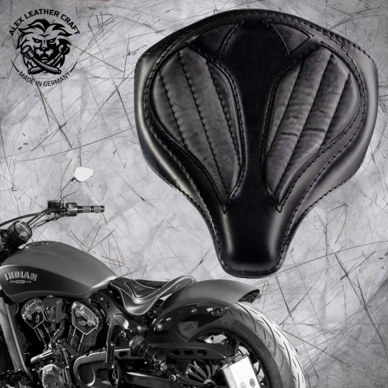 "Bobber Solo Seat for Indian Scout since 2017 ""Spider"" Vintage Black V2"