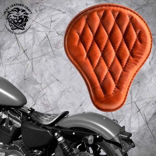 Solo Selle Harley Davidson Sportster 04-20 Cognac Motif de diamant