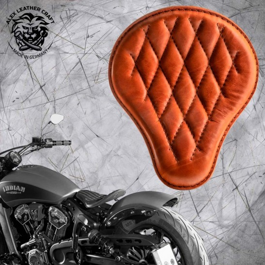 "Bobber Solo Seat for Indian Scout since 2017 ""Standard"" Cognac Diamond"