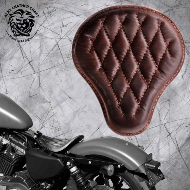 Solo Sitz Harley Davidson Sportster 04-20 Büffel Braun Rautenmuster