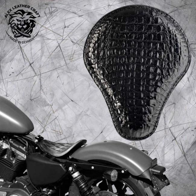 Solo Sitz Harley Davidson Sportster 04-20 Kroko Schwarz