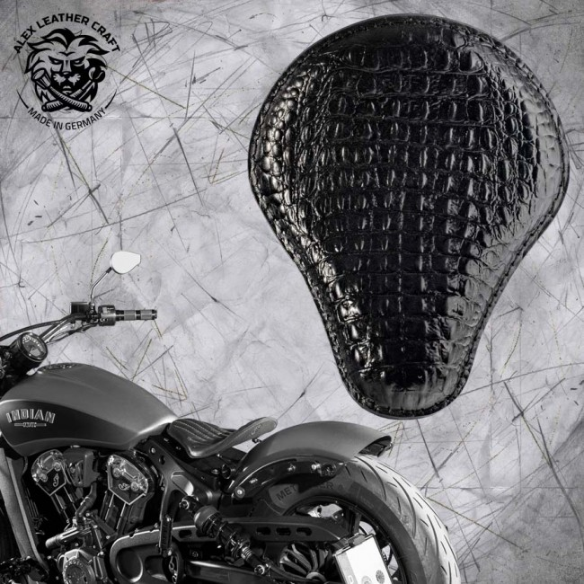 Bobber Solo Seat for Indian Scout since 2017 Alligator Black
