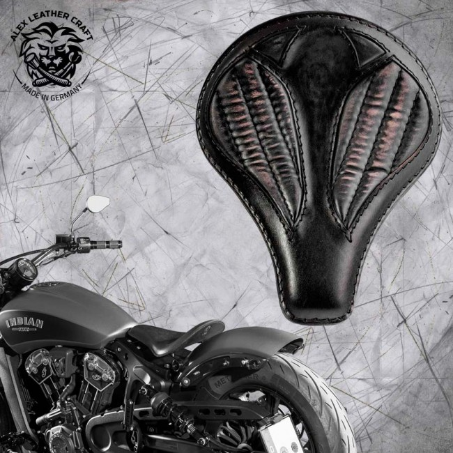 "Bobber Solo Seat for Indian Scout since 2017 ""Long"" Vintage Black V2"
