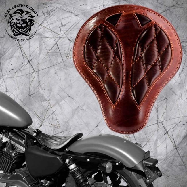 "Solo Sitz Harley Davidson Sportster 04-20 ""Kurz"" Büffel Braun Rautenmuster"