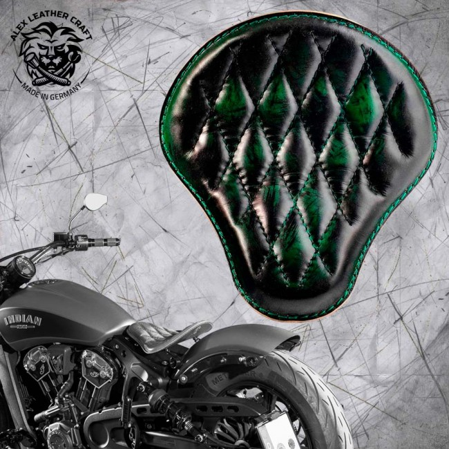"Bobber Solo Seat for Indian Scout since 2017 ""Standard"" Emerald Diamond"