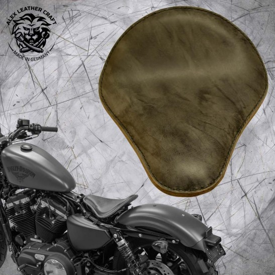 Sitz + Montage Kit Harley Davidson Sportster 04-20 Büffel grau