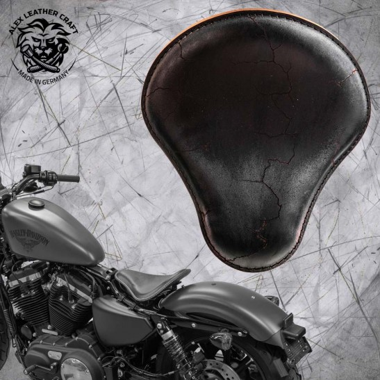 Sitz + Montage Kit Harley Davidson Sportster 04-20 Vintage Schwarz Electro
