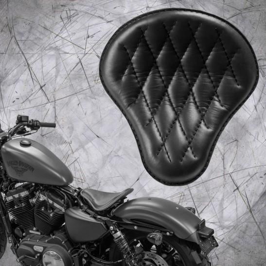 Selle + Montage Kit Harley Davidson Sportster 04-20 Noir Motif de diamant