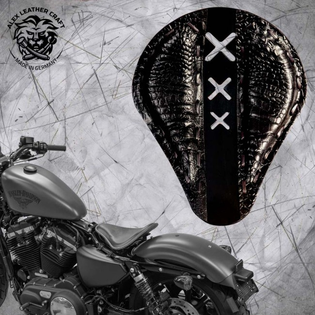 "Seat + Montage Kit Harley Davidson Sportster 04-20 ""Amsterdam"" Black Alligator"