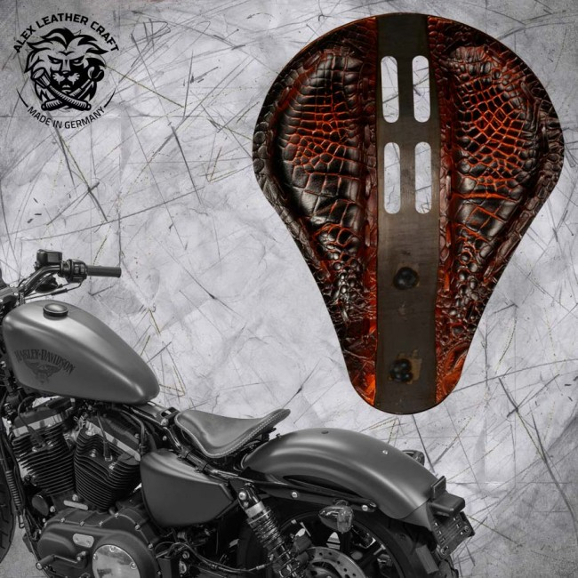 "Seat + Montage Kit Harley Davidson Sportster 04-20 ""4Fourth"" Alligator Saddle Tan"