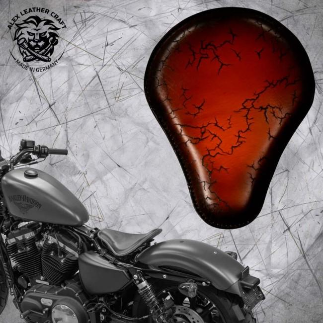 Seat + Montage Kit Harley Davidson Sportster 04-20 Saddle Tan Electro