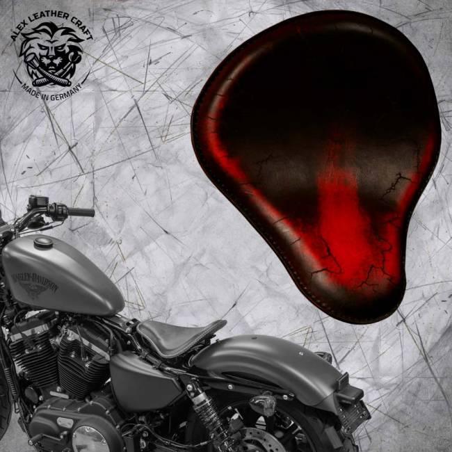 Seat + Montage Kit Harley Davidson Sportster 04-20 Vintage Red Electro