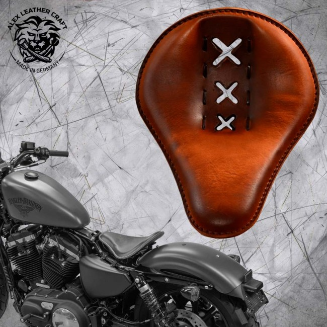 "Solo Sitz + Montage Kit Harley Davidson Sportster 04-20 ""Amsterdam"" Vintage Braun"