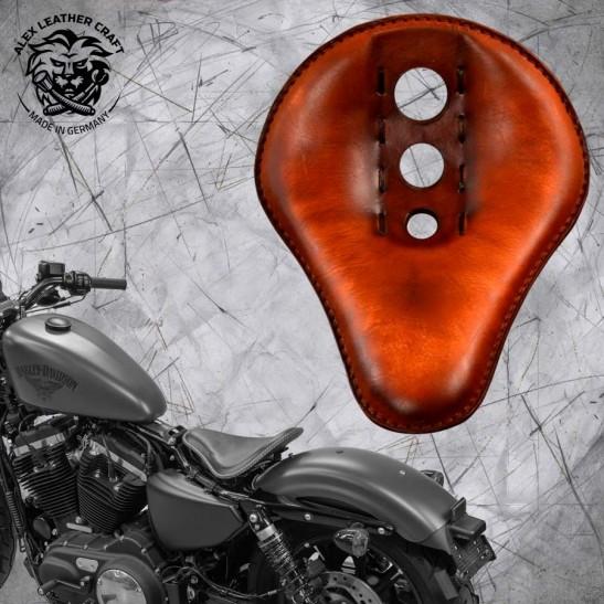 "Solo Seat + Montage Kit Harley Davidson Sportster 04-20 ""Trinity"" Vintage Brown"