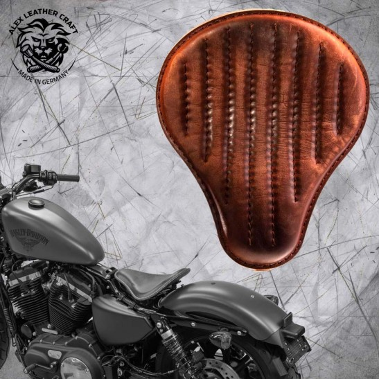 "Solo Sitz + Montage Kit Harley Davidson Sportster 04-20 ""Vintage Braun"" V2"