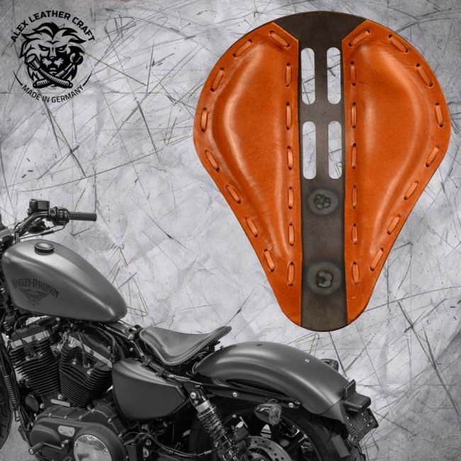"Solo Sitz + Montage Kit Harley Davidson Sportster 04-20 ""4Fourth"" Büffel Cognac"