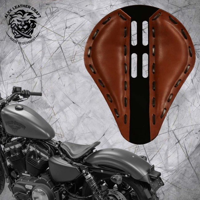 "Solo Seat + Montage Kit Harley Davidson Sportster 04-20 ""4Fourth"" Brown"