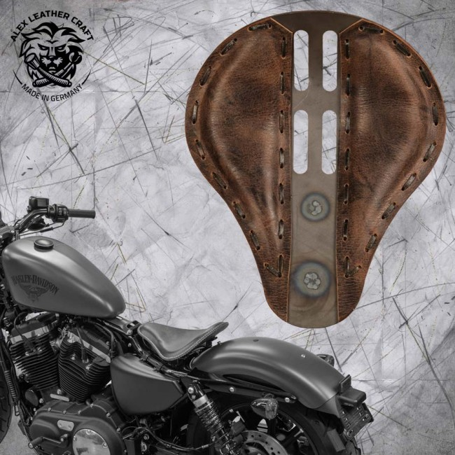 "Solo Sitz + Montage Kit Harley Davidson Sportster 04-20 ""4Fourth"" Büffel Mocca"