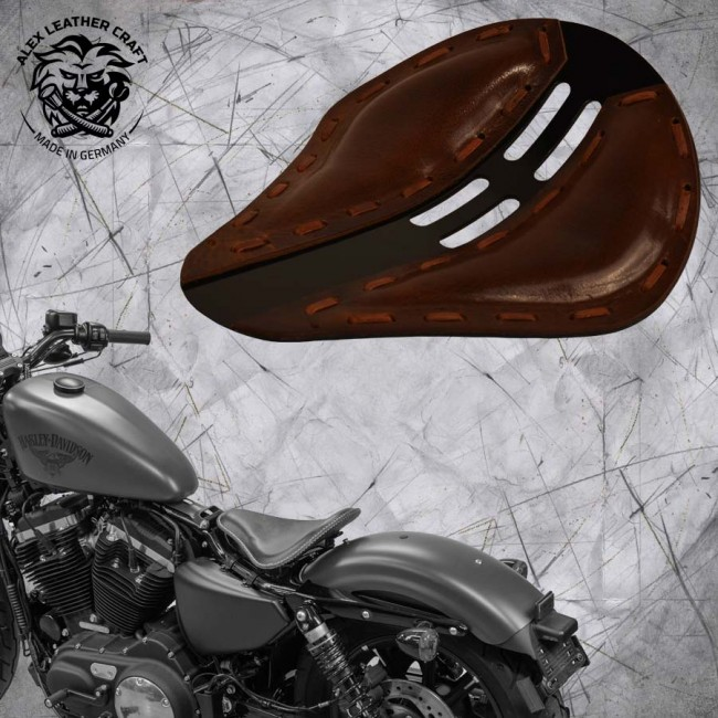 "Solo Seat + Montage Kit Harley Davidson Sportster 04-20 ""4Fourth"" Buffalo Brown"