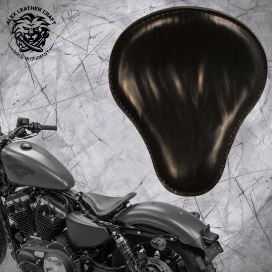"""Solo Seat + Montage Kit Harley Davidson Sportster 04-20 """"Wrinkle"""" Black"""