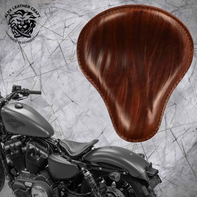 "Solo Sitz + Montage Kit Harley Davidson Sportster 04-20 ""Knitter"" Braun"