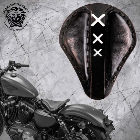 "Solo Seat + Montage Kit Harley Davidson Sportster 04-20 ""Amsterdam"" Vintage Black"