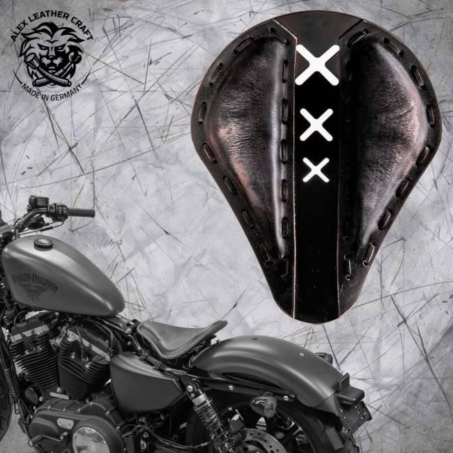 "Solo Sitz + Montage Kit Harley Davidson Sportster 04-20 ""Amsterdam"" Vintage Schwarz"
