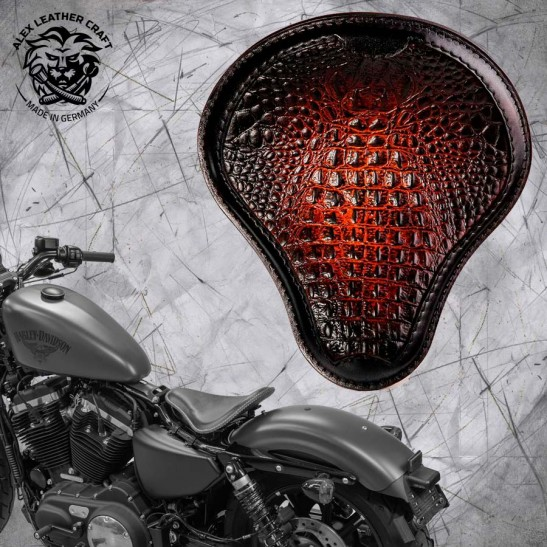 "Solo Sitz + Montage Kit Harley Davidson Sportster 04-20 ""Kroko"" Schwarz Tan"