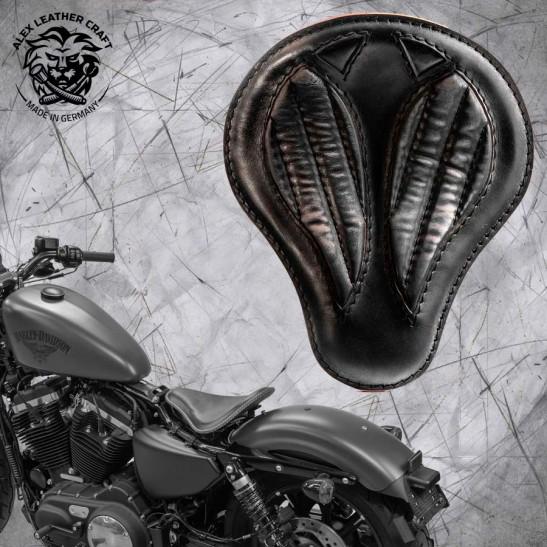"""Solo Selle + Montage Kit Harley Davidson Sportster 04-20 """"Short"""" Vintage Noir V2"""