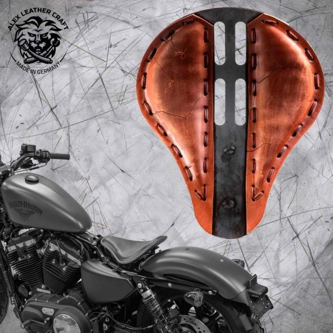 "Solo Sitz + Montage Kit Harley Davidson Sportster 04-20 ""4Fourth"" Electro Vintage Braun"