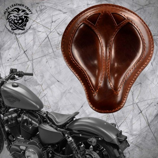 "Solo Sitz + Montage Kit Harley Davidson Sportster 04-20 ""Kurz"" Büffel Braun"