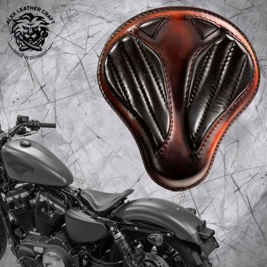 """Solo Seat + Montage Kit Harley Davidson Sportster 04-20 """"Short"""" Black and Brown V2"""