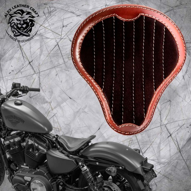 """Solo Sitz + Montage Kit Harley Davidson Sportster 04-20 """"Glanz und Samt"""" Braun und Dunkelbraun V2"""