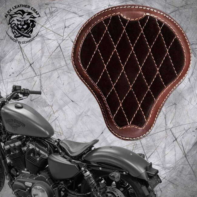 "Solo Sitz + Montage Kit Harley Davidson Sportster 04-20 ""Glanz und Samt"" Dunkelbraun V3"