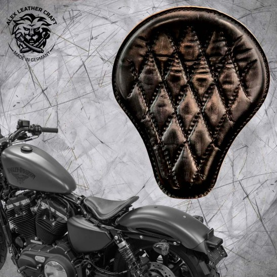 Solo Selle + Montage Kit Harley Davidson Sportster 04-20 Vintage Noir Motif de diamant