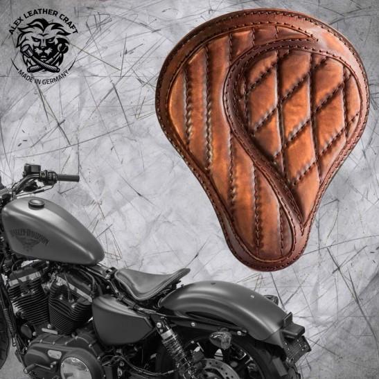 """Solo Selle + Montage Kit Harley Davidson Sportster 04-20 """"No-compromise"""" Vintage Marron"""