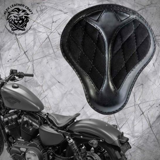 """Solo Sitz + Montage Kit Harley Davidson Sportster 04-20 """"Kurz"""" Samt Schwarz Rautenmuster"""