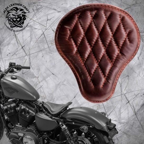 Solo Selle + Montage Kit Harley Davidson Sportster 04-20 Buffalo Brown Motif de diamant