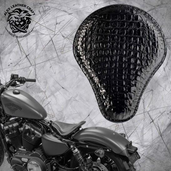 Solo Seat + Montage Kit Harley Davidson Sportster 04-20 Alligator Black