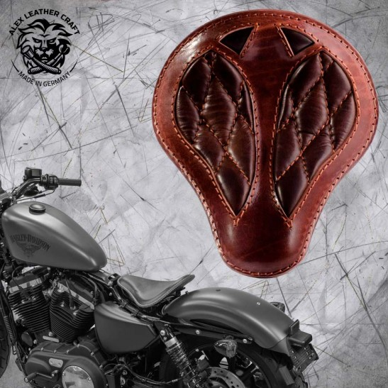 "Solo Seat + Montage Kit Harley Davidson Sportster 04-20 ""Short"" Buffalo Brown Diamond"