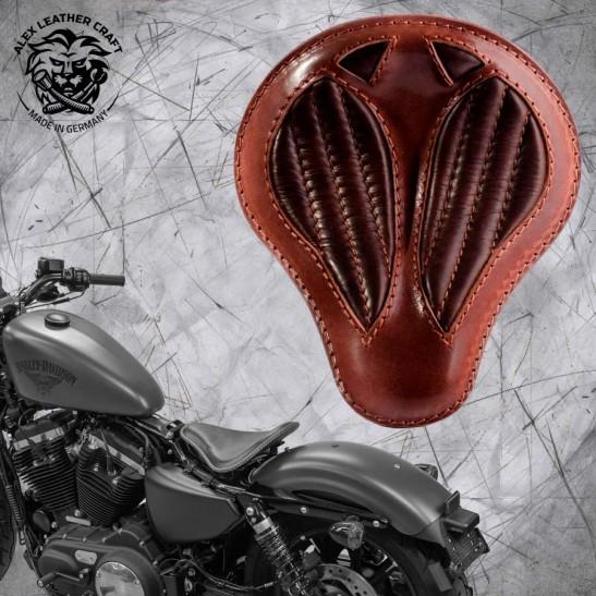 "Solo Sitz + Montage Kit Harley Davidson Sportster 04-20 ""Kurz"" Büffel Braun V2"