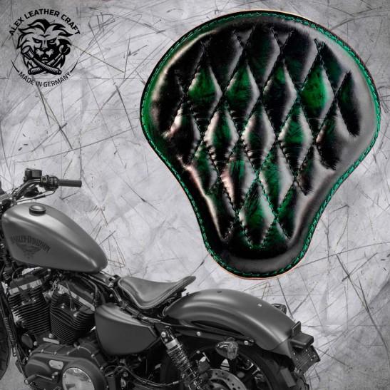 Solo Sitz + Montage Kit Harley Davidson Sportster 04-20 Emerald Rautenmuster