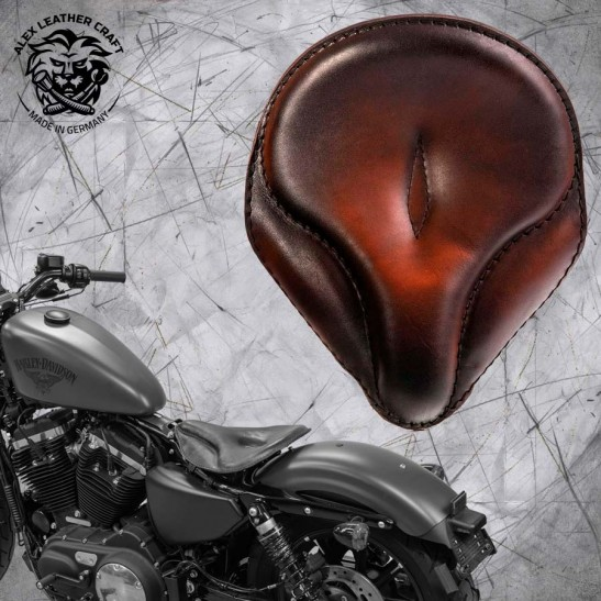 """Solo Seat + Montage Kit Harley Davidson Sportster 04-20 """"Old time"""" Vintage Tan"""
