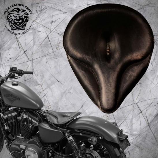 """Solo Sitz + Montage Kit Harley Davidson Sportster 04-20 """"Oldtimer"""" Vintage Schwarz"""