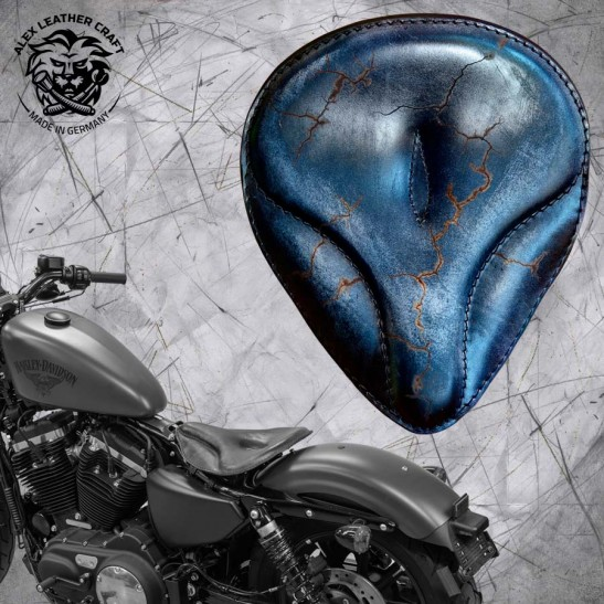 "Solo Sitz + Montage Kit Harley Davidson Sportster 04-20 ""Oldtimer"" Vintage Schwarz Electro"