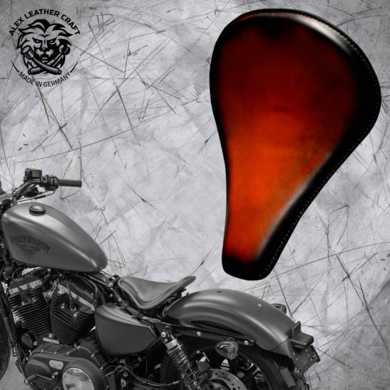 "Solo Sitz + Montage Kit Harley Davidson Sportster 04-20 ""Lang"" Sattel Tan"