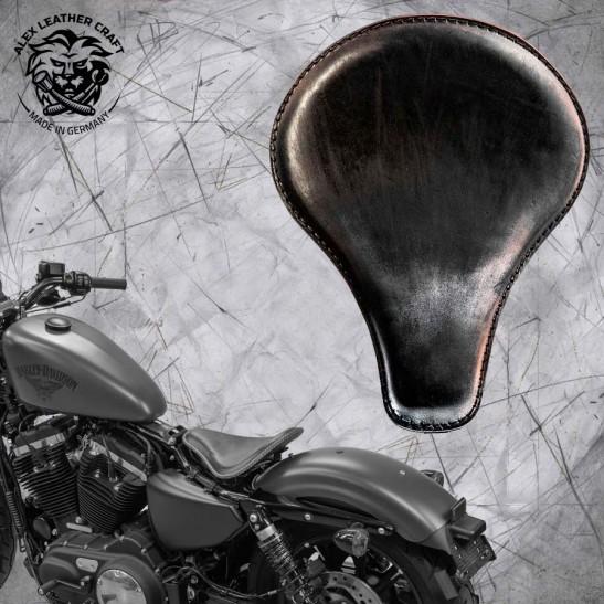 """Solo Selle + Montage Kit Harley Davidson Sportster 04-20 """"Long"""" Vintage Noir"""