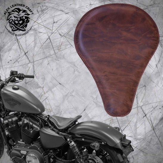 "Solo Seat + Montage Kit Harley Davidson Sportster 04-20 ""Long"" Buffalo Mocca"