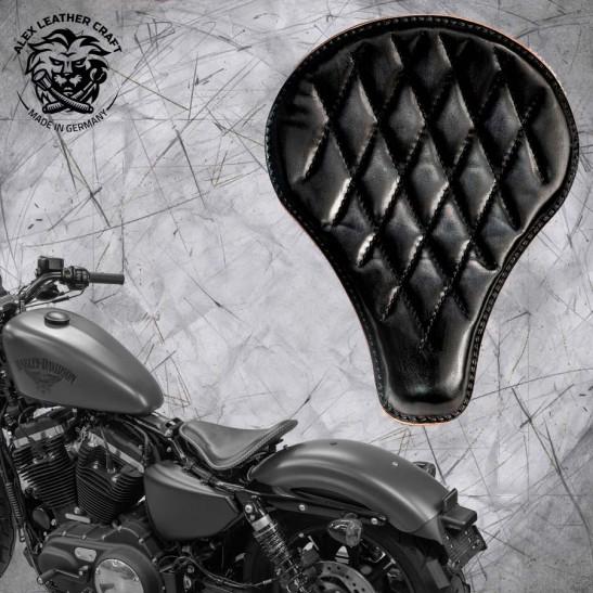 """Solo Selle + Montage Kit Harley Davidson Sportster 04-20 """"Long"""" Vintage Noir V3"""